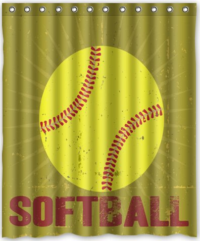 Cool Design Yellow Softball Shower Curtain 60quotw X 72quoth