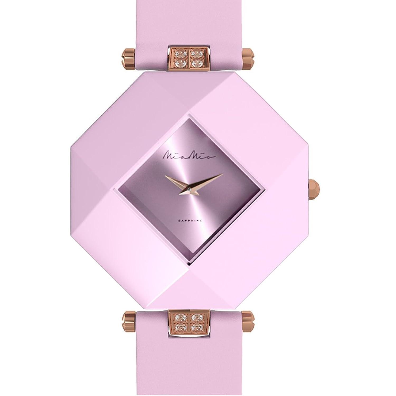 Mia-Mio Leder Rosa Keramik Swiss Quartz Rose Gold Saphir Kristall PRECIOSA Damen Uhr