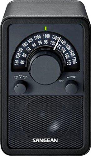 Sangean WR-15BK AM/FM Table Top Wooden Radio, Black Leatherette ()