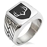 Two-Tone Stainless Steel Antlers Fortitude Coat of Arms Shield Engraved Geometric Pattern Biker Style Polished Ring, Size 13