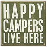 camper cathy - Primitives by Kathy Wood Box Sign, 5-Inch by 5-Inch, Happy Campers