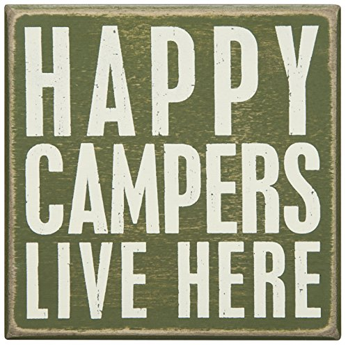 Happy Campers Live Here Wood Box Sign made our list of camping gifts couples will love and great gifts for couples who camp