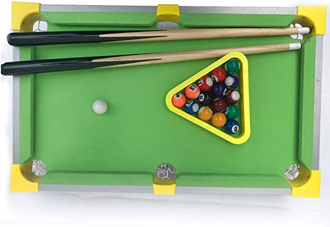 Mesa Mini Billar Estilo Billar minijuegos de Madera con 15 Bolas de Colores, 1 Bola Blanca, 1 Cepillo, 2 Palos, 1 Cubos Triangulares de Tiza y Estante para niños: Amazon.es: Hogar