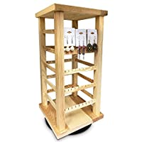Ikee Design Natural Wood Rotating Jewelry Earring/Accessory Storage Display,