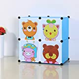FatColo(TM) Magical Multi Use Cartoon DIY Cube Organizer, Bookcase, Storage Cabinet, Wardrobe Closet (4 Cubes - Blue)