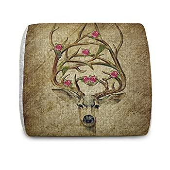 EnjoyIt Comfortable Deer Wearing Flowers Memory Foam Back Cushion for Car Seats, Office Computer Seats,sofa and Other Chairs - Your Best Chioce For Alleviating The Waist Aches and relax Your waist (Especially for Office Worker)