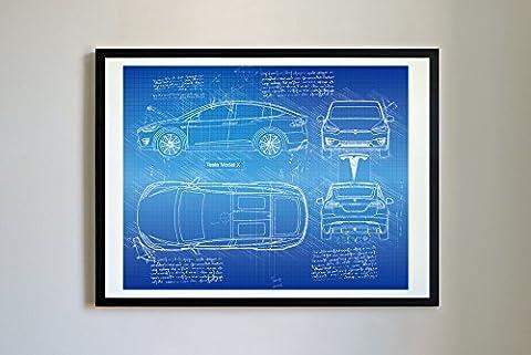#261 Tesla Model X 2016 - Da Vinci Sketch Art Print- Prints, Poster, Artwork, Patent (16x20, (Tesla Patent)