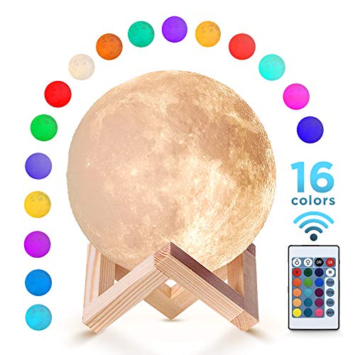 Moon Lamp (5.9 inch) with 16 Colors Night Light with Stand and Remote & Touch Control USB Charge for Children Kids Couple Gift Birthday Gift Bedroom 3D Printed Material Realistic Surface -