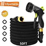 CXRCY 50 Ft Garden Hose with 10 Pattern Spray Nozzle,Upgraded Expandable Flexible Water Hose with Double Latex Core, 3/4'' Solid Brass Fittings, Extra Strength Fabric for Garden Backyard Car Pets wash