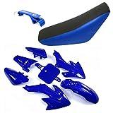 TC-Motor Fairing Body Kits+Tall Foam Seat For Honda CRF50 XR50 Pit Dirt Trail Bike 50cc 70cc 90cc 110cc 125cc 140cc 150cc 160cc SSR Atomik Thumpstar Apollo Kayo Stomp Piranha Pitster Pro (Blue)