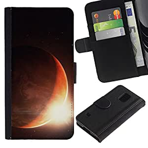 Billetera de Cuero Caso Titular de la tarjeta Carcasa Funda para Samsung Galaxy S5 V SM-G900 / Sun Planet Eclipse Rise Red Planet Earth Space / STRONG