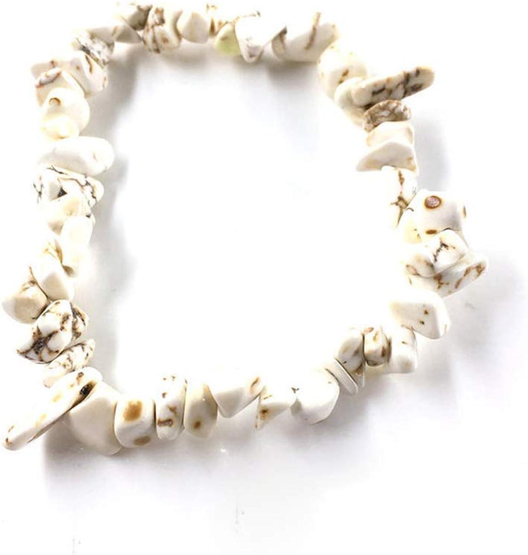 Awertaweyt Pulsera de Cuentas, Natural Gem Stone Bracelet Stretch Chip Beads Nuggets Garnet Crystal Coral Quartz Bracelets Bangles For Women