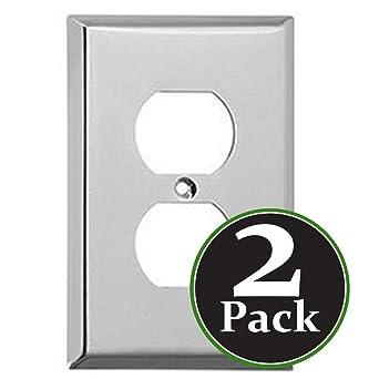 2 Pk Duplex 1 Gang Device Receptacle Wallplate Standard Size Mount