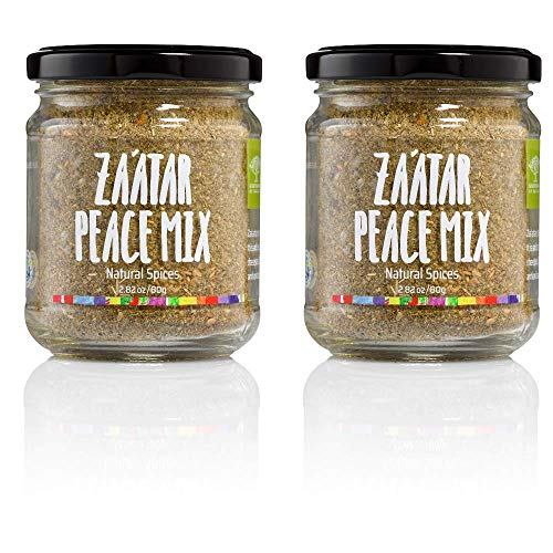Sindyanna Pack of 2 Za'atar Seasoning Spice Jars - Perfect for Bread Meats and Salads Seasoning or Mixed with Olive Oil - 2.82 oz each jar (5.64 oz total) delicious Flavor to Every Meal - 100 % Vegan ()
