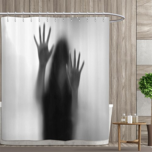 Horror House Decor Shower Curtain Customized Silhouette of Woman behind the Veil Scared to Death Obscured Paranormal Photo Bathroom Set with Hooks 72''x84'' Gray by Davishouse