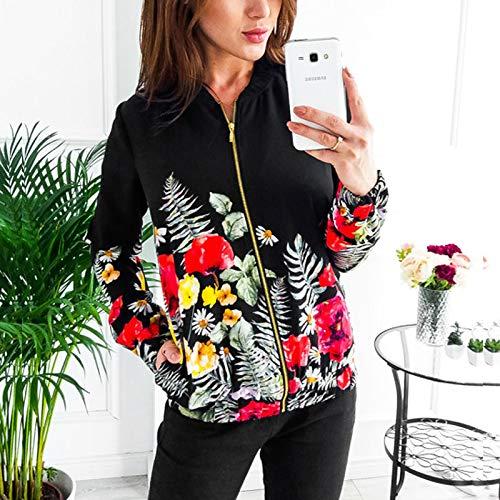 ZFFde Invierno Floral Bomber Baseball Jacket Women Stand Collar manga larga cremallera escudo (Color : Black, tamaño : XL)