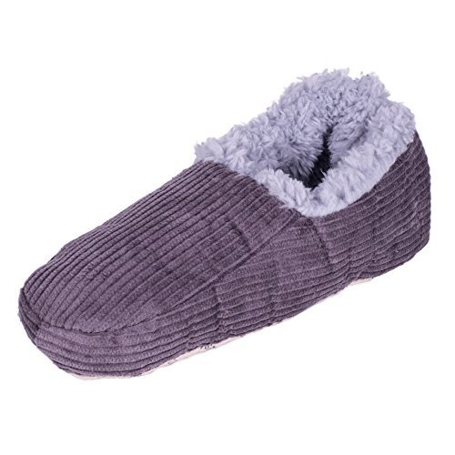 Snoozies Mens Corduroy Fleece Lined Non-Skid Slipper Socks - Grey, Small