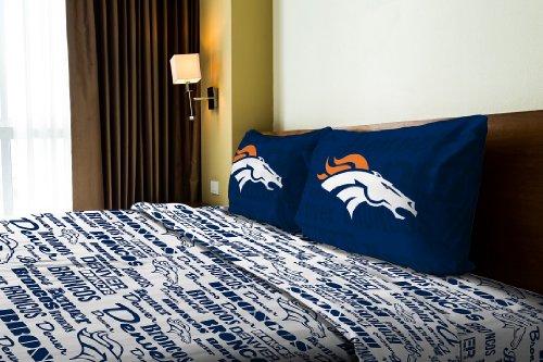 Northwest NOR-1NFL820010004WMT Denver Broncos NFL Twin Sheet Set - Anthem Series Denver Broncos Bedding