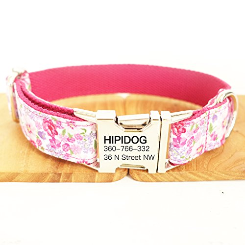 hipidog Personalized Dog Collar, Custom Engraving with Pet Name and Phone Number, Adjustable Tough Nylon ID Collar, Matching Leash Available Separately (Peach Purple Pink)