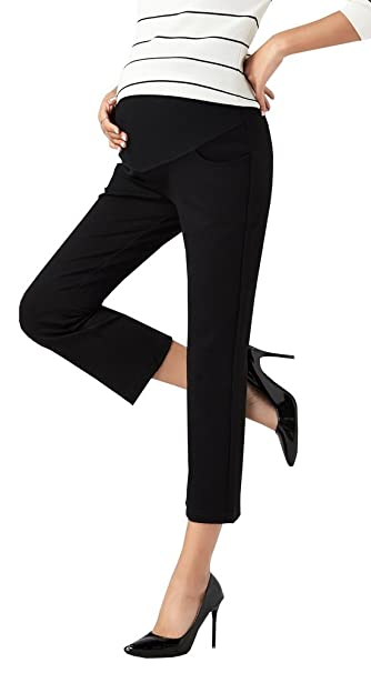 d1133b74833 Foucome Womens Maternity Bootcut Stretch Career Dress Pants Work Office  Over-Bump Trousers Black