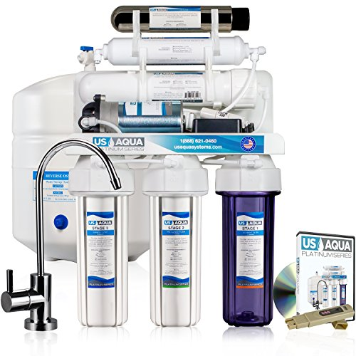 Booster Pump Systems - US Aqua Platinum Series 100GPD 6-Stage UV Under Sink Reverse Osmosis Ultraviolet Sterilization Drinking Water Filter System With Booster Pump - Free PPM Meter and Installation DVD