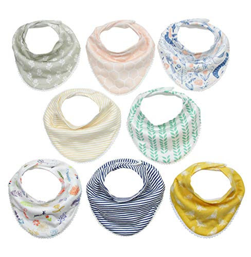 (Matimati Baby Bandana Bibs for Girls with Snaps, Absorbent Drool and Teething Bibs, Stylish Prints with Pom Poms, 8-Pack (Darling Set))