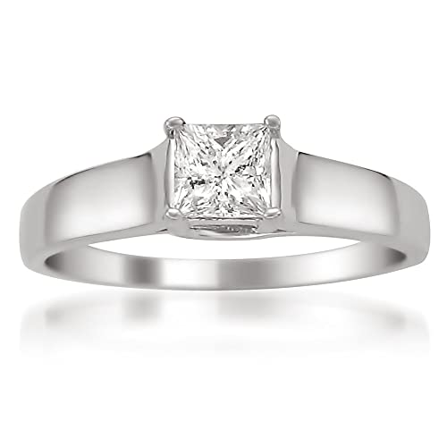 14k White Gold Princess-cut Diamond Solitaire Engagement Ring (3/8 cttw, I-J, SI1-SI2)