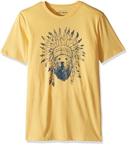 Lucky Brand Toddler Boys' Short Sleeve Graphic Tee Shirt, Yolk Yellow Heather, 3T