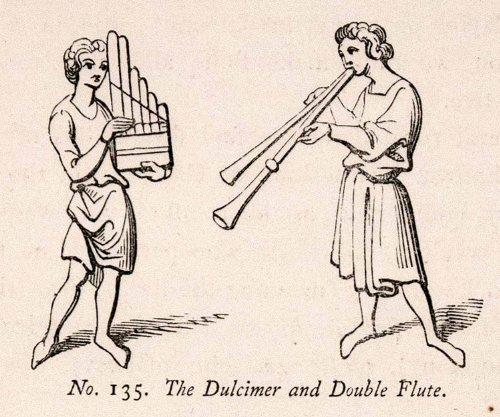 1862 Wood Engraving Frederick William Fairholt Dulcimer Double Flute Harp Music - Original Wood Engraving