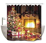 LB Christmas Tree Shower Curtain Set Gift Socks Bright Warm Fireplace Bathroom Curtain with Hooks 72x72 inch Polyester Fabric Bathtub Curtain Mildew Resistant Waterproof
