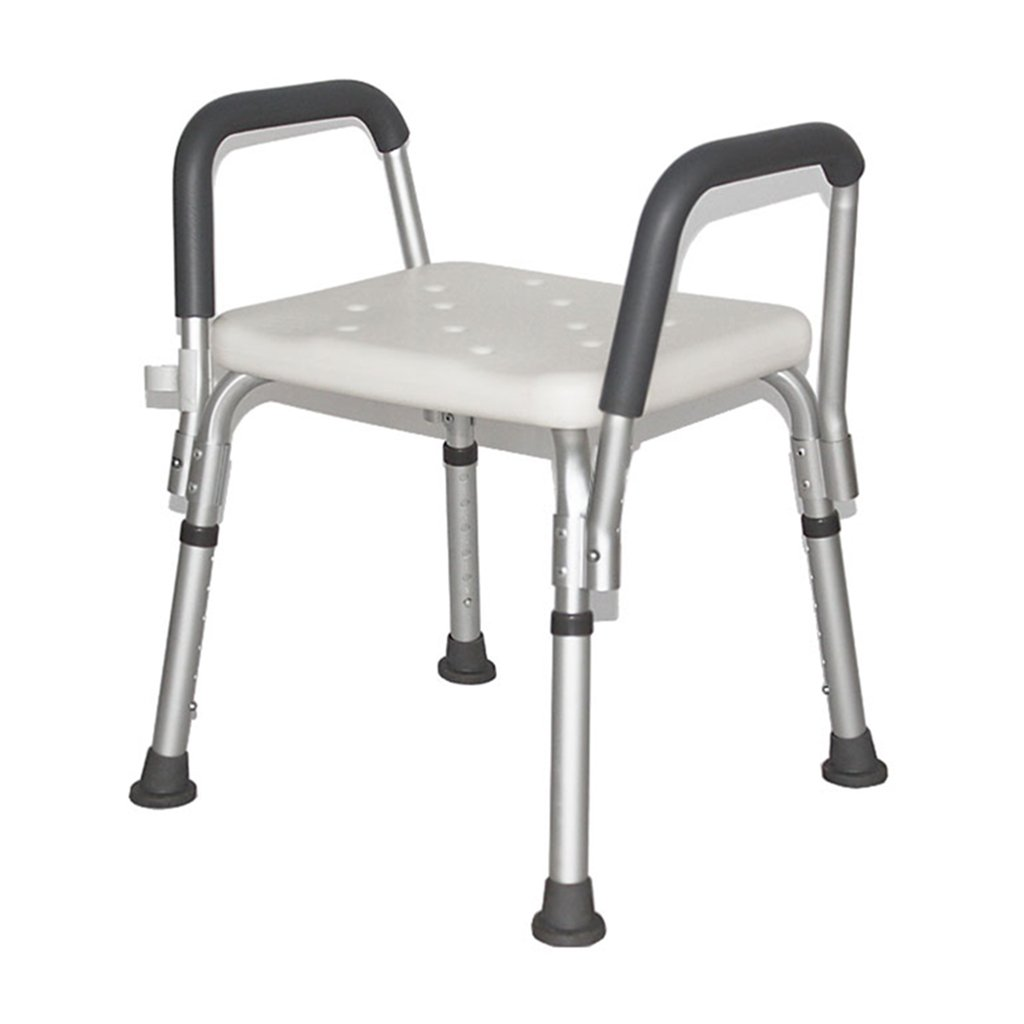シャワーチェアステンレススチールシャワーシートスツール高齢者/障害者アンチスリップマットシャワーシートスツールハンドル6高さベンチバスタブスツールシートホワイト最大。 136kg B07F58XN9B