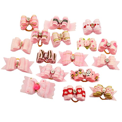 PET SHOW Assorted Styles Ribbon Topknot Dog Hair Bows for Small Pet Dog Cat Grooming Products with Rubber Bands Pink Pack of 20