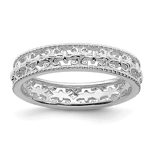 925 Sterling Silver Fleur De Lis Band Ring Size 7.00 Stackable Textured Fancy/Carved Fine Jewelry Gifts For Women For -