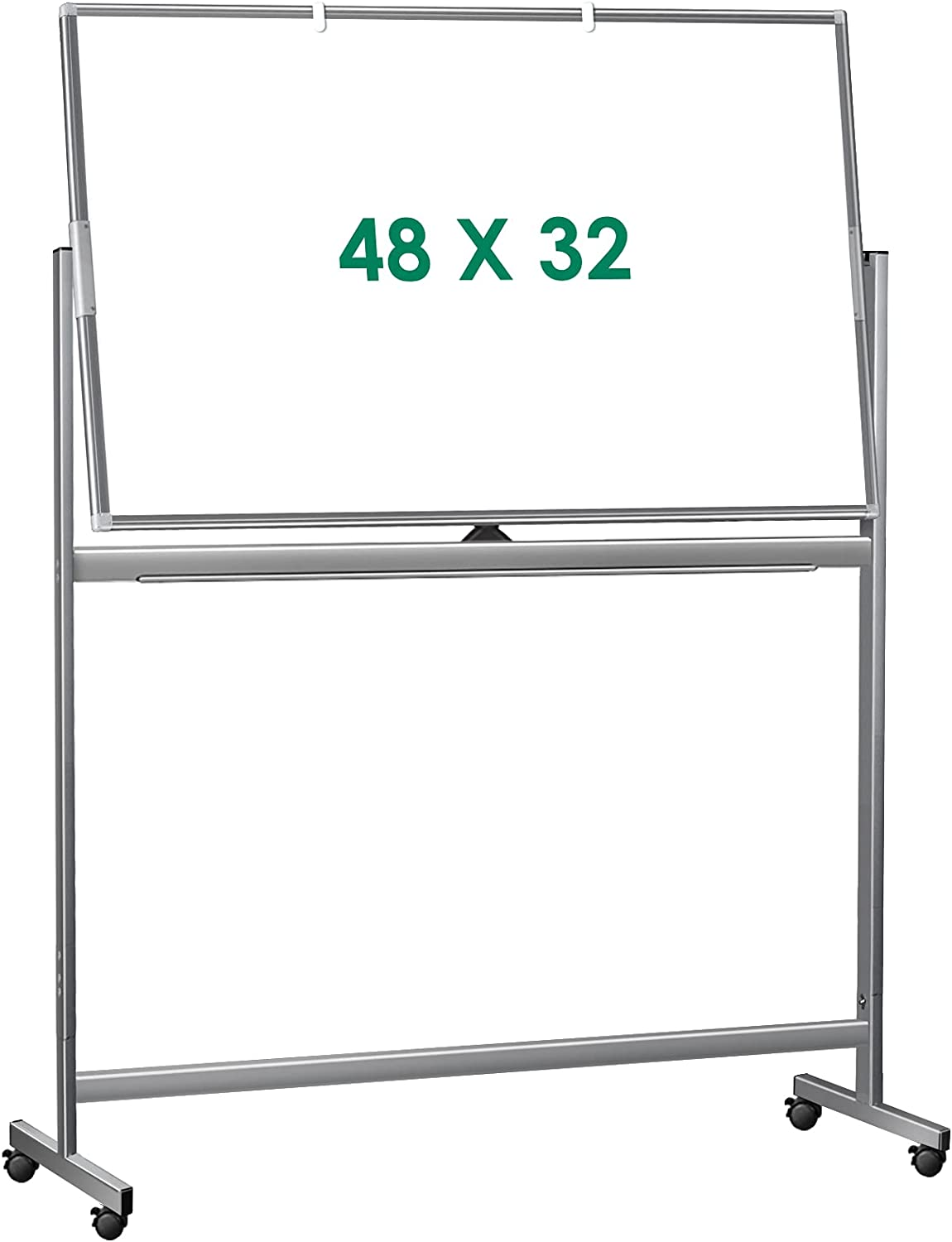 Double Sided Mobile Whiteboard, 48 x 32 inches Large Rolling White Board, maxtek Reversible Magnetic Dry Erase Board Easel Standing Whiteboard on Wheels for Home Office Classroom, Gray