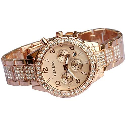 Unisex Luxury Iced Out Pave Floating Crystal Diamonds Calendar Quartz Watch with Stainless Steel Link Bracelet