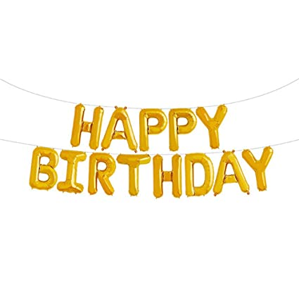 Amazon GOER Gold Happy Birthday Balloons16 Inch Foil Letter