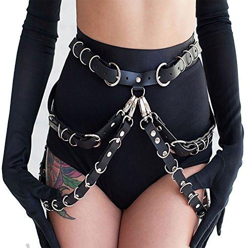 Women Faux Leather Harness Garter Belt Adjustable Waist Leg Garter with Punk Metal Chain(N020)