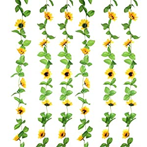 Sunrisee 2Pcs (17FT) Artificial Sunflower Garland Silk Fake Flower Ivy Vines Artificial Flowers for Hotel Wedding Home Party Garden Craft Art Decor 33