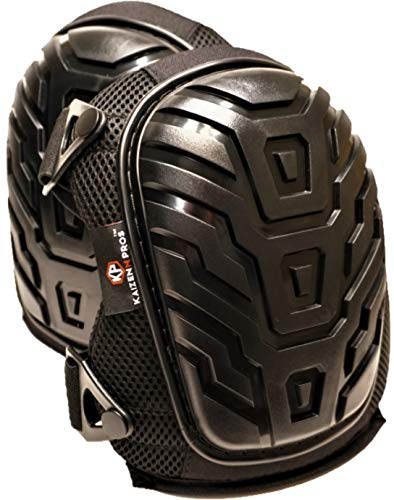 Professional Knee Pads for Work by KZN Pros - Superior Foam Pad Plus a Large Impact Gel Comfort Zone and Adjustable Elastic Straps with Fast Buckle Clasps - Heavy Duty Protection for Zero Pain