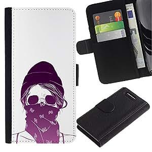 JackGot ( Activista cráneo del motorista etiqueta blanca ) Sony Xperia Z3 Compact / Z3 Mini (Not Z3) la tarjeta de Crédito Slots PU Funda de cuero Monedero caso cubierta de piel
