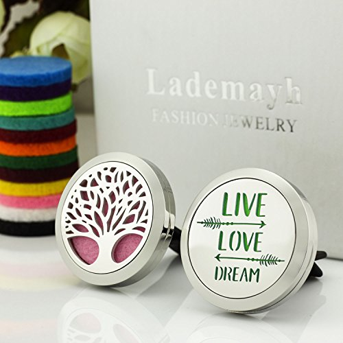 2 Styles Car Diffuser Essential Oils Vent Clip, Tree of Life & Live Love Dream Stainless Steel Diffuser Locket (30mm, 12 Felt Pads) by Lademayh