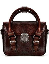 ZLYC Women Vintage Handmade Dip Dye Leather Messenger Satchel Top Handle Hand Bag