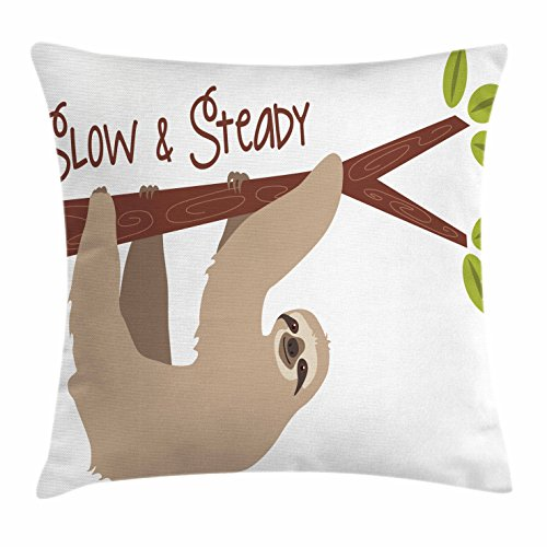 Sloth Throw Pillow Cushion Cover by Ambesonne, Cartoon Style Australian Wildlife Mammal on Tree Branch Slow and Steady Phrase, Decorative Square Accent Pillow Case, 18 X 18 Inches, Tan Chesnut Brown