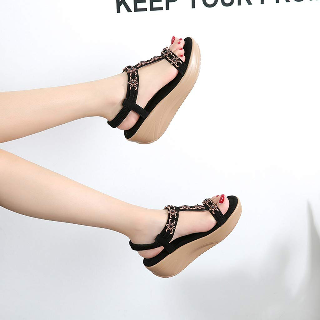 ✔ Hypothesis_X ☎ Womens Wedges Sandals, Bohemian Pearl Crystal Flat Sandals,Flip Flop Casual Shoes Black by ✔ Hypothesis_X ☎ Shoes (Image #5)