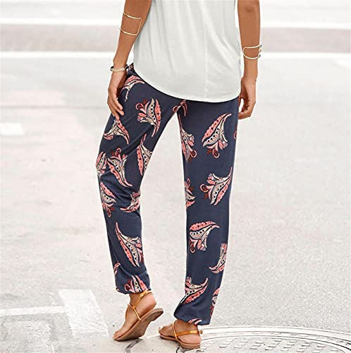 Balakie 2021 Women's High Waisted Joggers Boho Floral Printed Loose Yoga Lounge Harem Workout Pants with Pockets Dark Blue