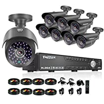 TMEZON 16CH 1080N 5 in 1 AHD Video DVR Security System 8 AHD 2.0MP Super Night Vision Indoor/Outdoor Security Camera Transmit Range P2P/QR Code Scan Easy Setup