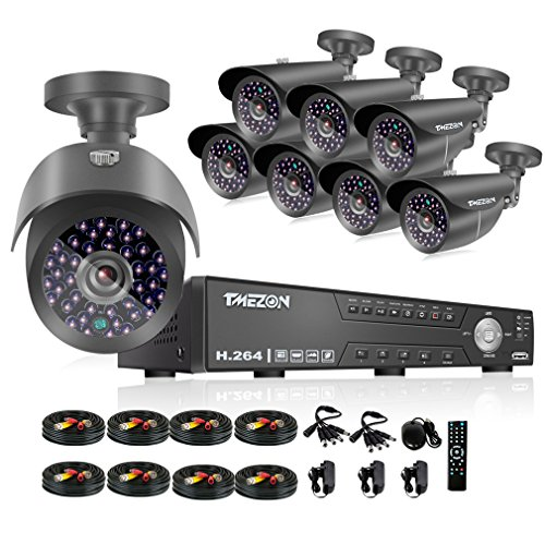 TMEZON NEW 16CH 1080N AHD Video DVR Security System 8 AHD 720P 130ft Super Night Vision 42 IR LEDs Indoor/Outdoor Security Camera Transmit Range P2P/QR Code Scan Easy Setup