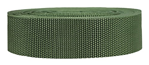 Strapworks Heavyweight Polypropylene Webbing - Heavy Duty Poly Strapping for Outdoor DIY Gear Repair, 1.5 Inch x 50 Yards, Olive Drab