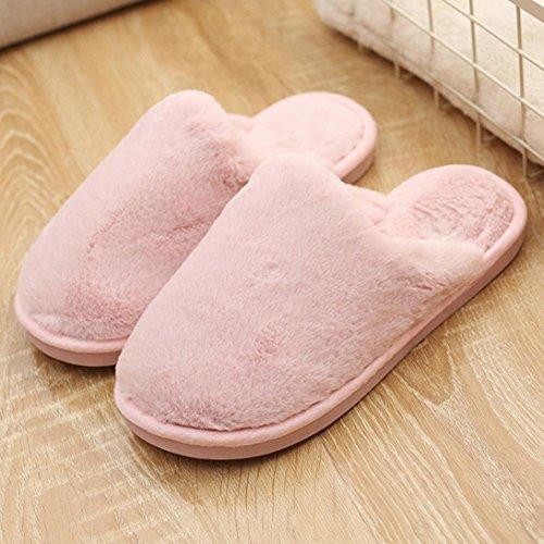 Faux Fur Slipper, Inkach Women Open Toe Slip On Fluffy Plush Flat Sandals Fuzzy Shoes Pink