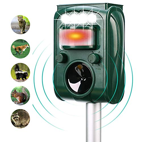 FAYINWBO solar outdoor animal repeller, motion activated alarm and flash, expel raccoon, rabbit, birds, squirrels, cats, dogs, etc. Protected courtyard, lawn and garden ()